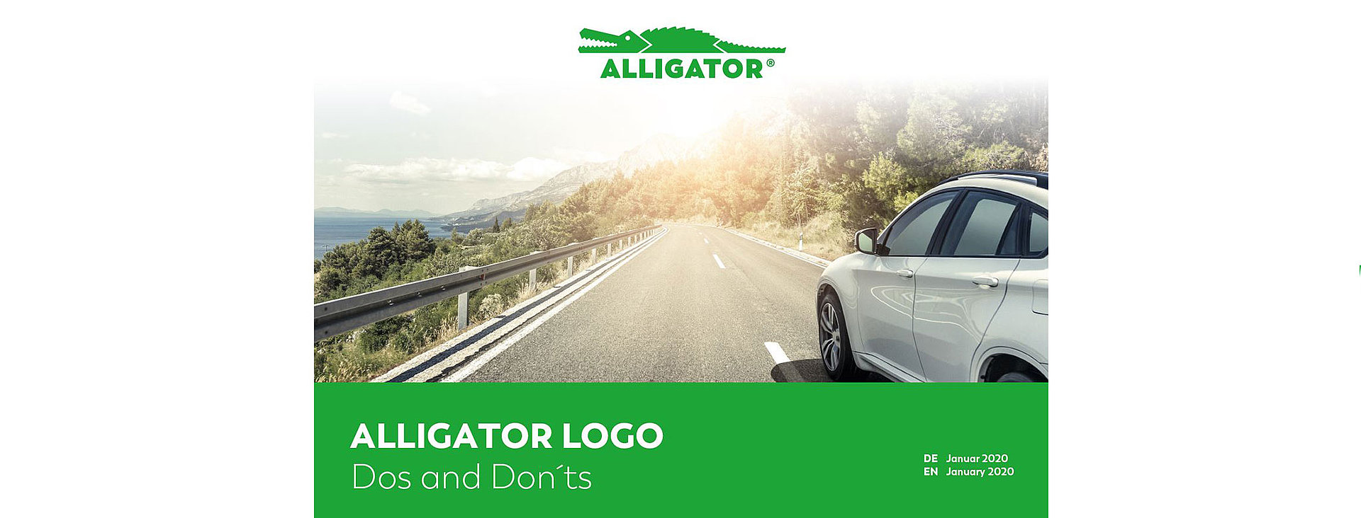 ALLIGATOR design and logo with car on country road in the background