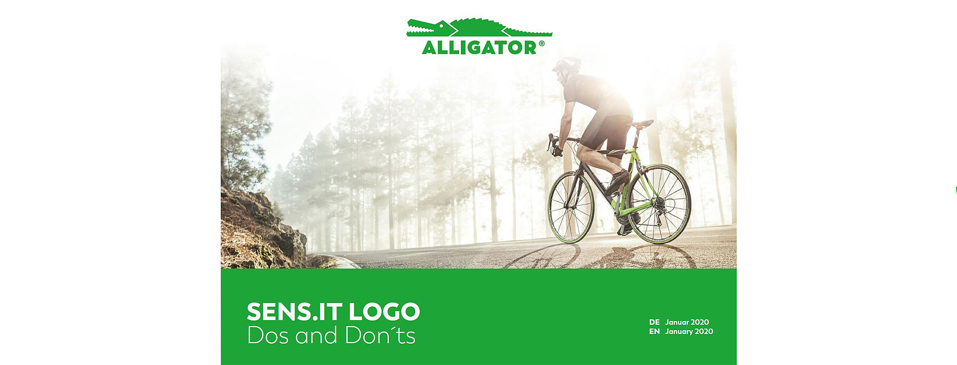 ALLIGATOR design and logo with cyclist as background